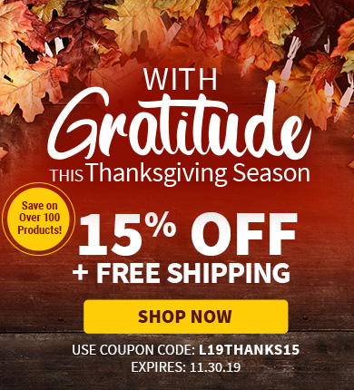 Happy Thanksgiving! 15% Off + Free Shipping!